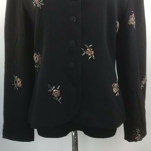 Zelda Jackets & Coats - Zelda Women's Black Long Sleeve Jacket With Beads
